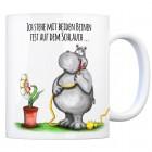 Kaffeebecher mit Nilpferd Motiv und Spruch: Auf dem Schlauch stehen...