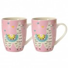 2er Set Lama Kaffeebecher in rosa