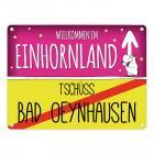 Willkommen im Einhornland - Tschüss Bad Oeynhausen Einhorn Metallschild