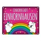 Metallschild mit Honeycorns Motiv und Spruch: Einhornstadt Einhornhausen