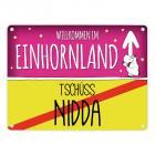 Willkommen im Einhornland - Tschüss Nidda Einhorn Metallschild