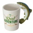 Angel-Abenteuer Kaffeebecher mit Fisch als Henkel
