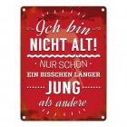 Metallschild mit Spruch: Ich bin nicht alt! Nur schon ein ...