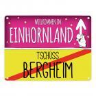 Willkommen im Einhornland - Tschüss Bergheim Einhorn Metallschild