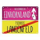 Willkommen im Einhornland - Tschüss Langenfeld Einhorn Metallschild