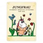 Honeycorns Metallschild mit Einhorn Sternzeichen Jungfrau Motiv