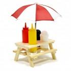 Picknicktisch Senf- und Ketchup Spender