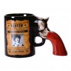 Wilder Westen Kaffeebecher mit Revolver als Griff