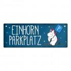 Honeycorns Metallschild mit Einhornparkplatz Motiv