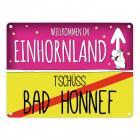 Willkommen im Einhornland - Tschüss Bad Honnef Einhorn Metallschild