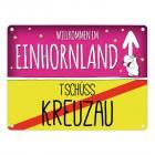 Willkommen im Einhornland - Tschüss Kreuzau Einhorn Metallschild