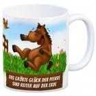Kaffeebecher mit Pferd und Reiter Motiv und Spruch: Das größte Glück der Pferde, sind ...