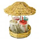 Tiki Strohhalm Gläser im 4er Set mit Strohhütten-Tablett